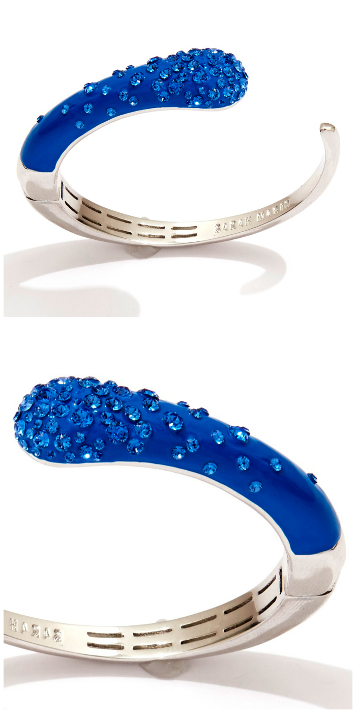 Sarah Magid Candy Drop cuff bracelet in blue enamel with Swarovski crystal.