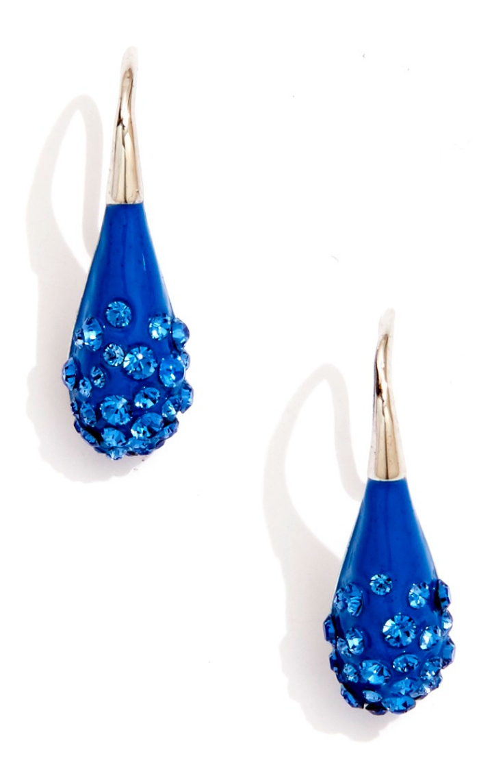 Sarah Magid Candy Drop earrings in blue enamel with Swarovski crystal.