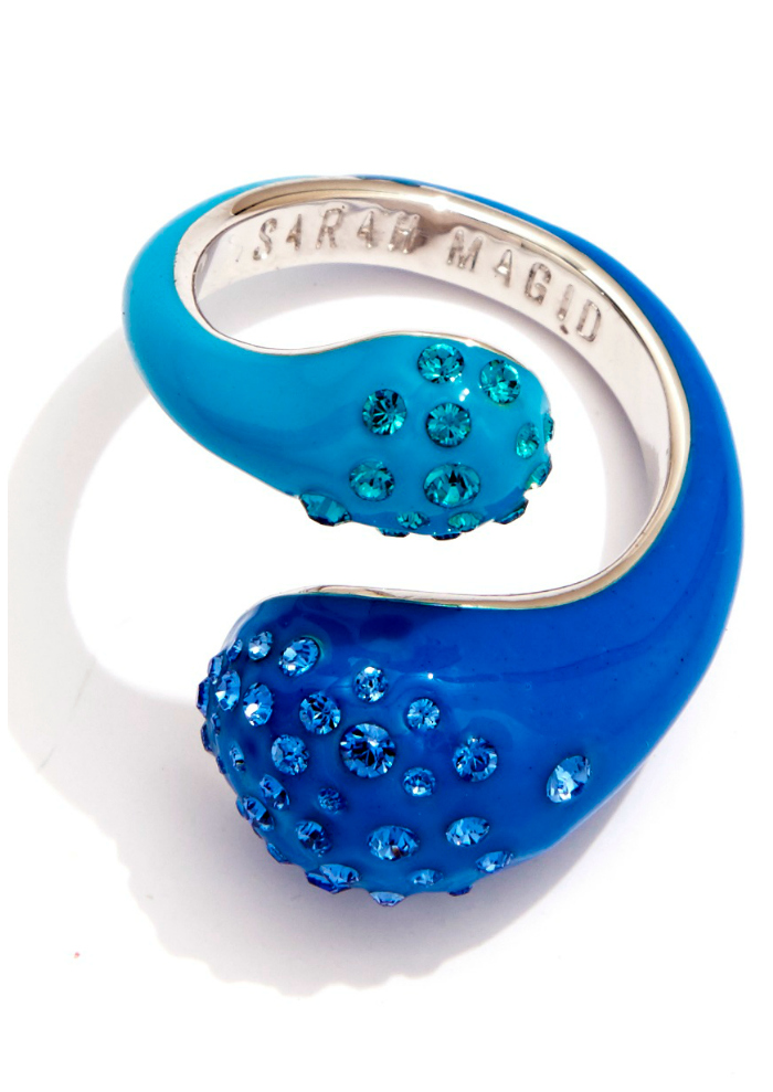 Sarah Magid Candy Drop ring in blue enamel with Swarovski crystal.