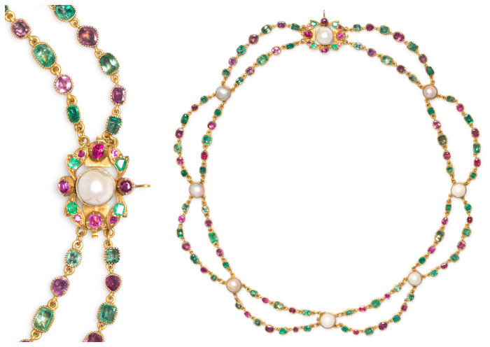 This lovely ruby and emerald necklace is an antique from Slovakia. Such a beauty! It's in Leslie Hindman's December auction.