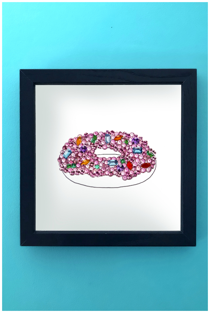 A donut made of gemstones! This is an art print of Hannah Becker's original gemstone art, as seen on her popular Instagram account, DiamonDoodles.
