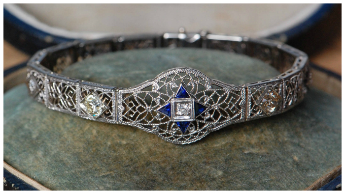 A lovely antique Art Deco platinum and diamond bracelet with sapphires. Beautiful!