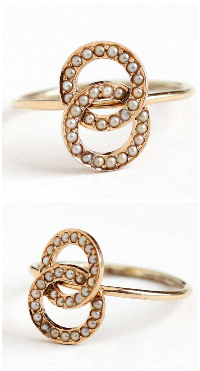 A lovely antique ring with seed pearls in gold. So pretty!