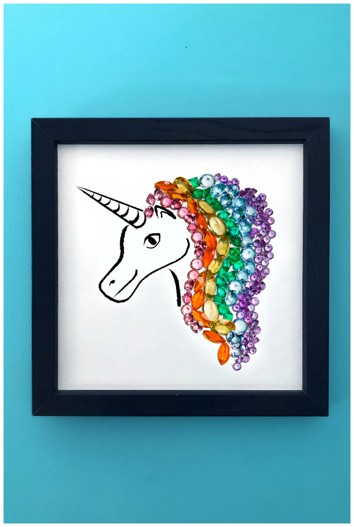 A unicorn made of gemstones! This is an art print of Hannah Becker's original gemstone art, as seen on her popular Instagram account, DiamonDoodles.