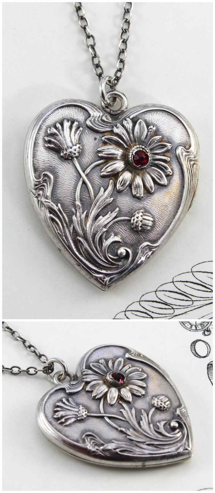 An antique silver locket from The Eden Collective. Art Nouveau era.