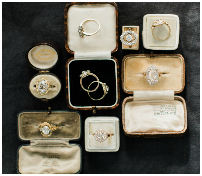 Beautiful antique and vintage engagement rings from Victor Barbone. I love the antique boxes too!!