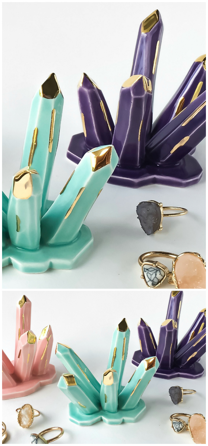 Beautiful crystal-inspired ceramic ring holders by Modern Mud. Available in several colors.