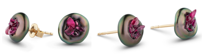 Tahitian keshi pearl earrings carved and filled with 1.20 carats of reclaimed rubies in 14k yellow gold. By little h.