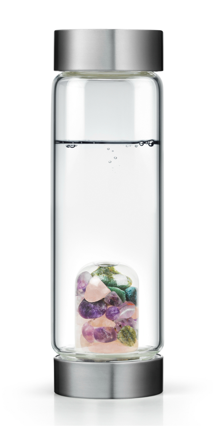 These Gem Water bottles have pods of gemstones inside! The gems are specially chosen to imbue the water with certain qualities based on the properties of the crystals.