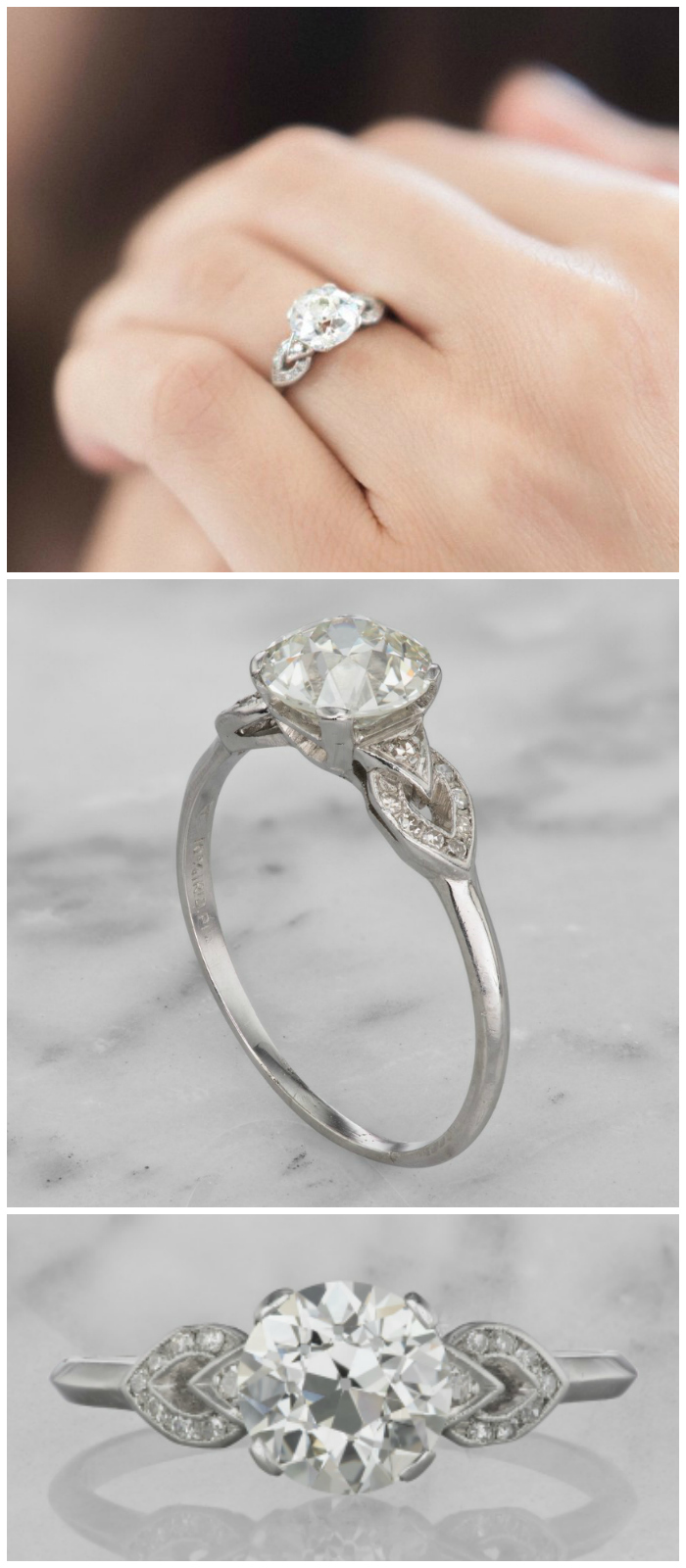 This lovely vintage engagement ring is Art Deco era, circa 1930. It features a 2.01 carat old European cut diamond in a platinum setting.