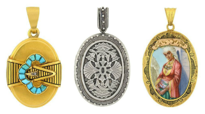 Three beautiful antique lockets from A Brandt and Son.
