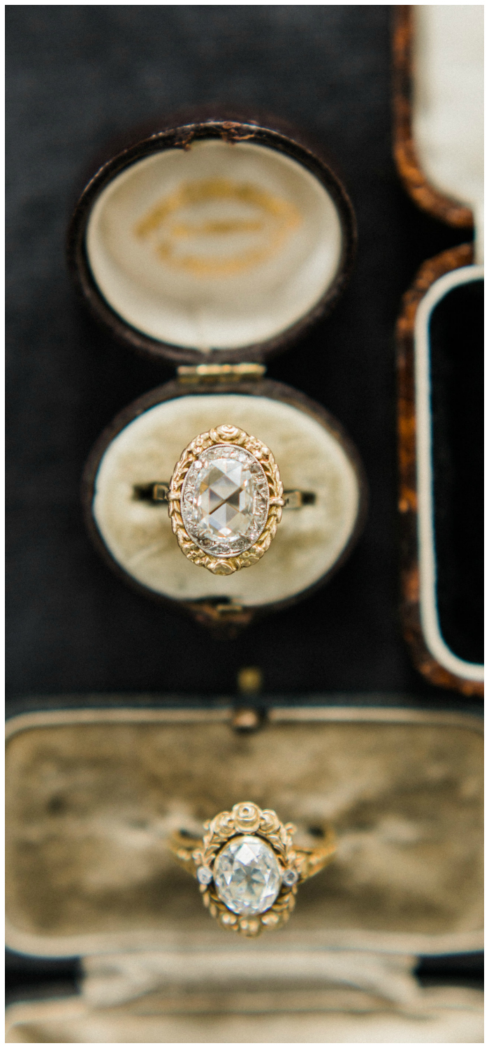 Two beautiful gold vintage engagement rings from Victor Barbone.