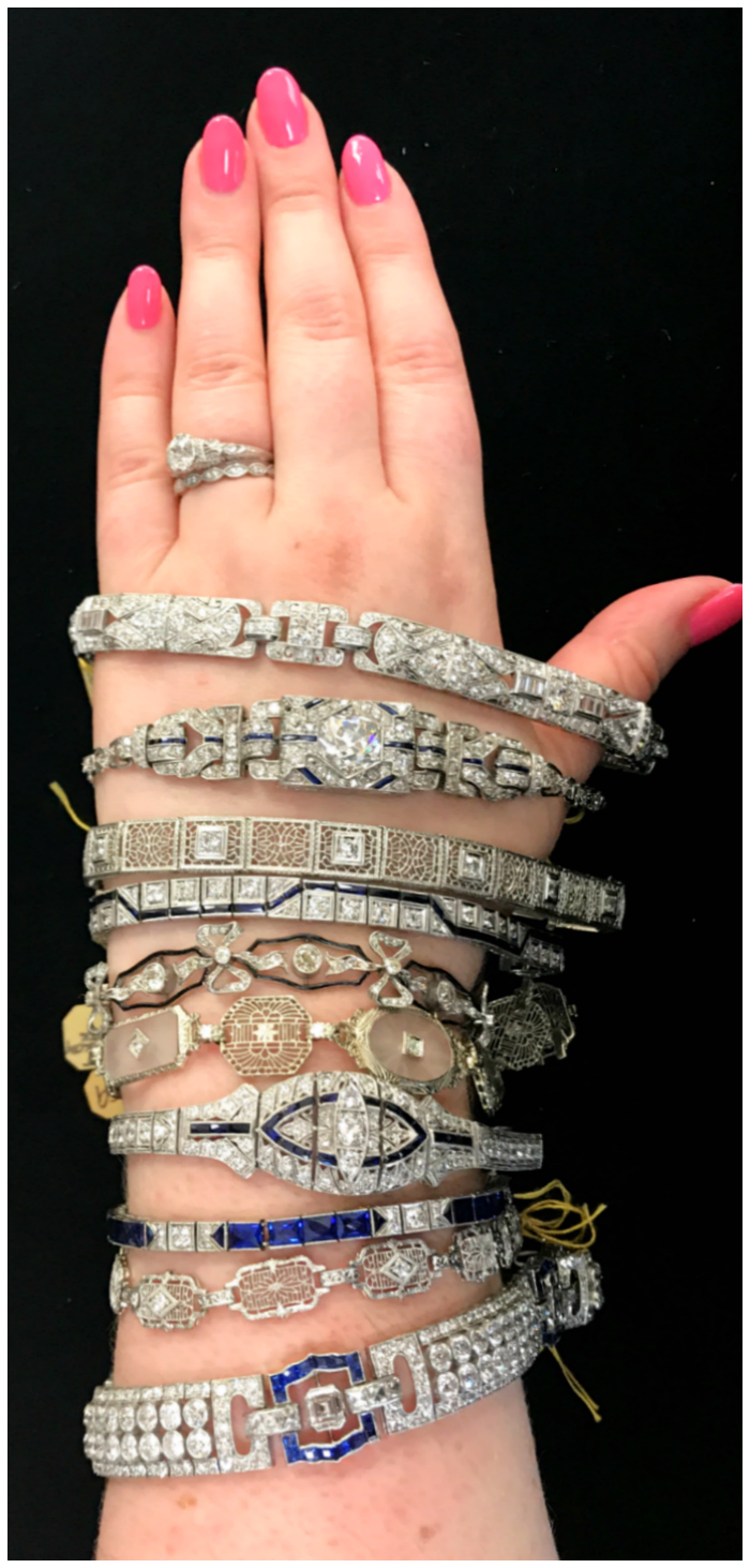 Vintage Art Deco bracelets from Joden! Platinum, gold, diamonds, sapphires - all the good stuff!!