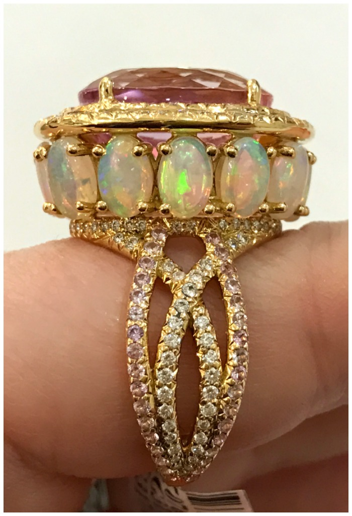 A beautiful gemstone and diamond ring by Erica Courtney.
