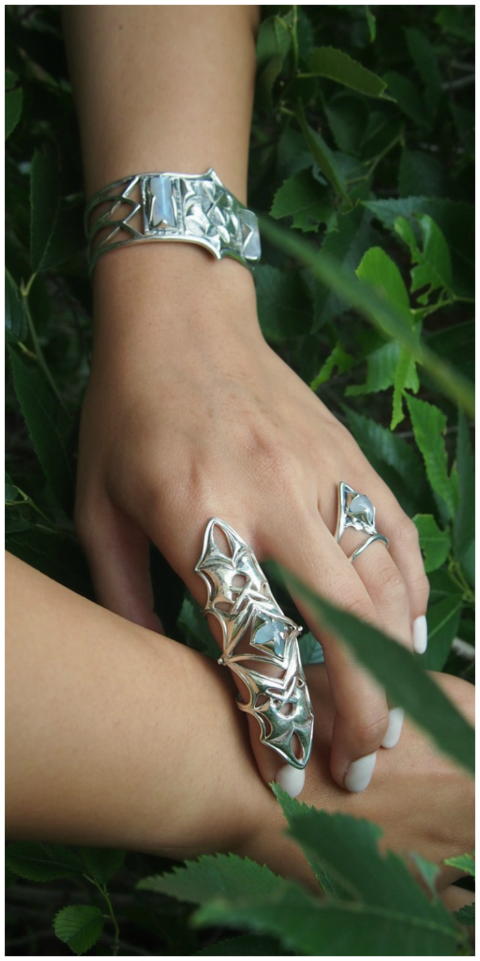 A selection of beautiful sterling silver jewelry from Kristen Dorsey's Hatchet Women collection.