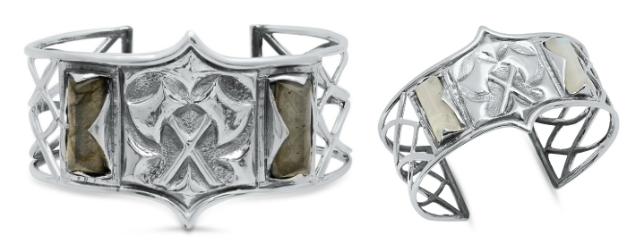 A silver and labradorite cuff bracelet from Kristen Dorsey's Hatchet Women Collection.
