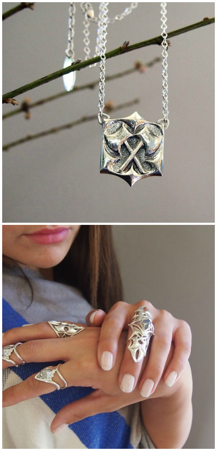 Beautiful sterling jewelry from Kristen Dorsey's Hatchet Women collection.