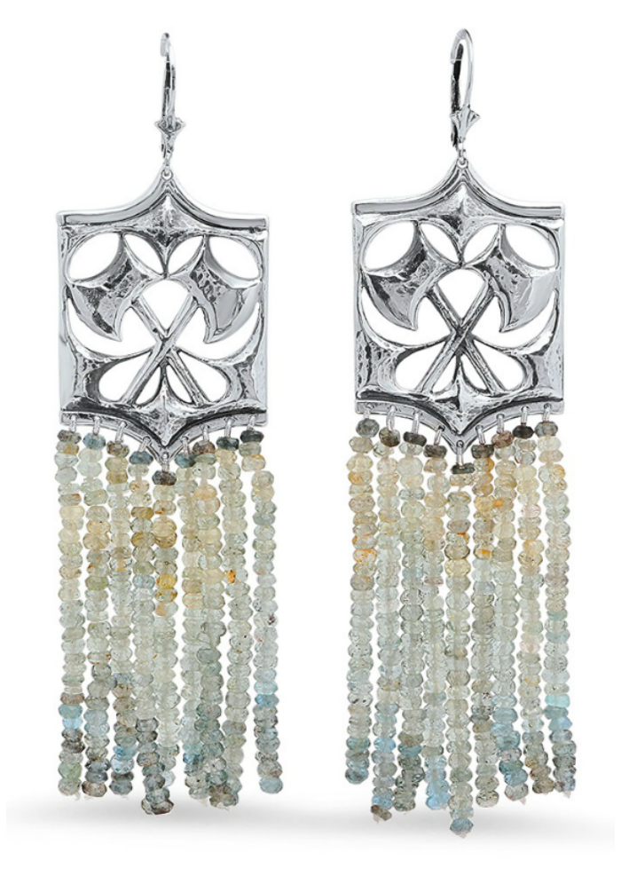 Kristen Dorsey's Hatchet Earrings in moss aquamarine and antiqued silver.