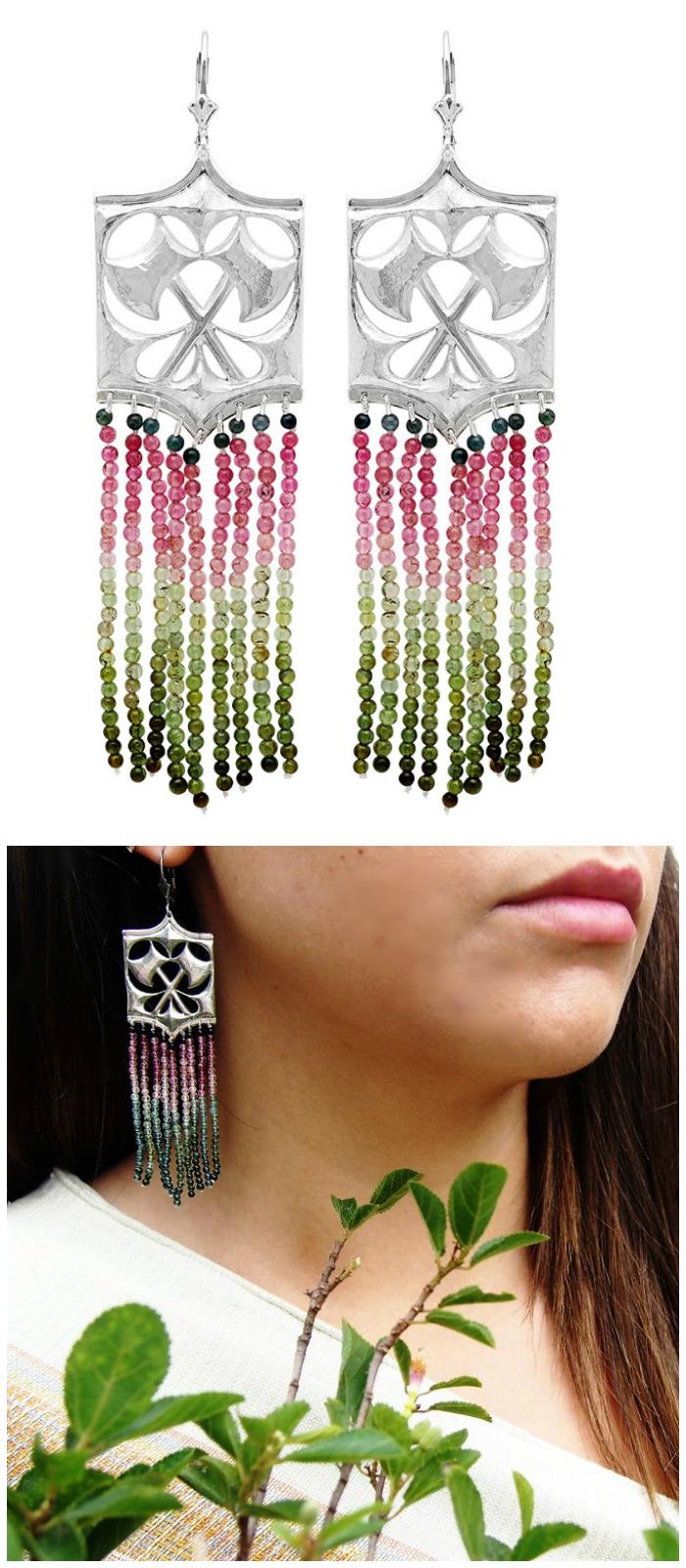 Kristen Dorsey's Hatchet earrings in watermelon tourmaline and antiqued silver.