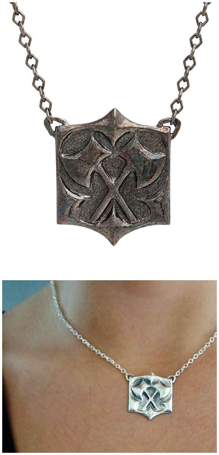 Kristen Dorsey's Hatchet pendant. The Hatchet Women collection is inspired by an incredible true story.