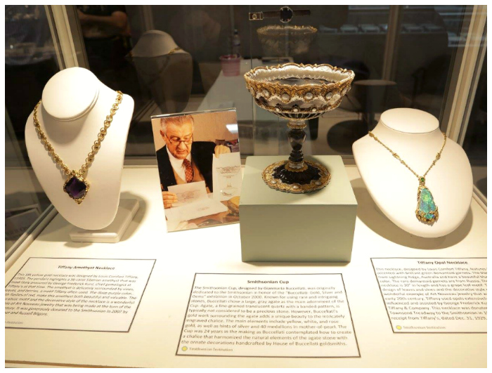 Objects on display from the Smithsonian's collections at the Smithsonian's AGTA GemFair booth.