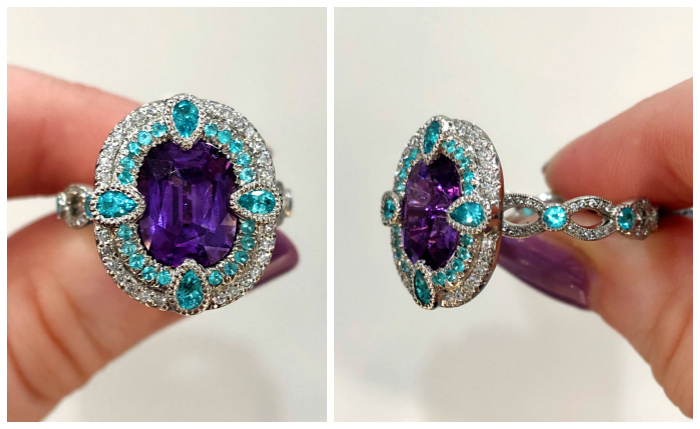 A purple sapphire and Paraiba tourmaline ring by Erica Courtney. This would be such a wonderful engagement ring.