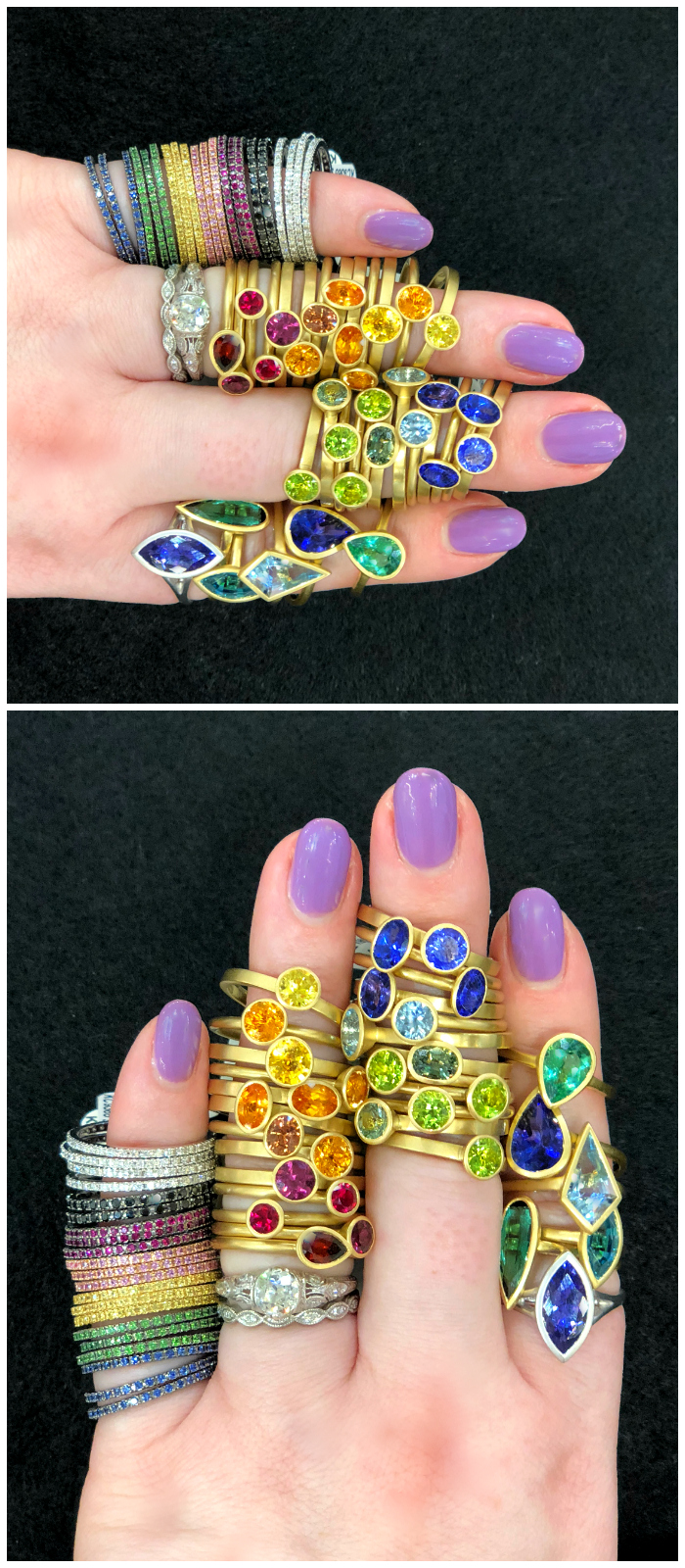 Beautiful, bountiful, colored gemstone rings at Kimberly Collins Gems! I saw these at the 2018 AGTA GemFair.