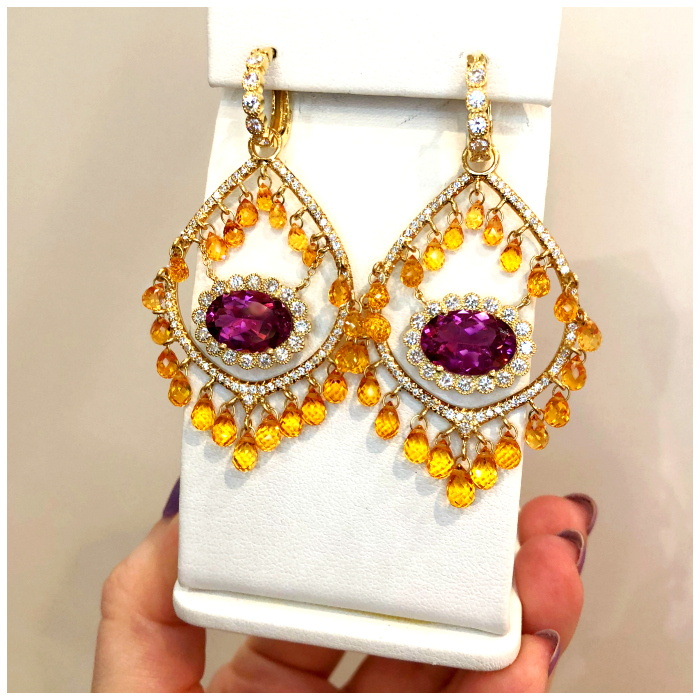 Fantastic tourmaline and Mandarin garnet briolette earrings by Erica Courtney! Spotted at the 2018 AGTA GemFair.