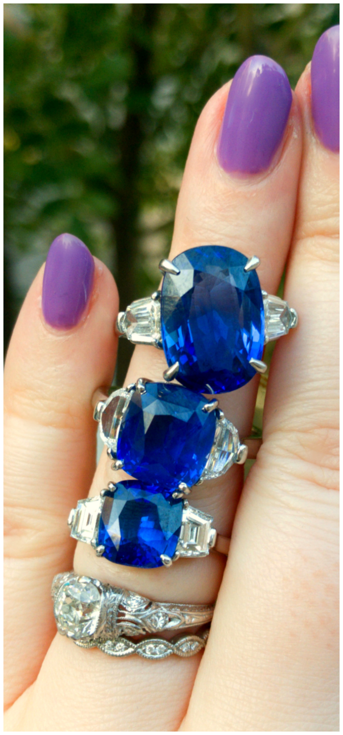 Three beautiful blue sapphire engagement rings from Inner Circle Fine Jewelry! Approx 3 carat, 6 carat, and 9 carat sapphires.