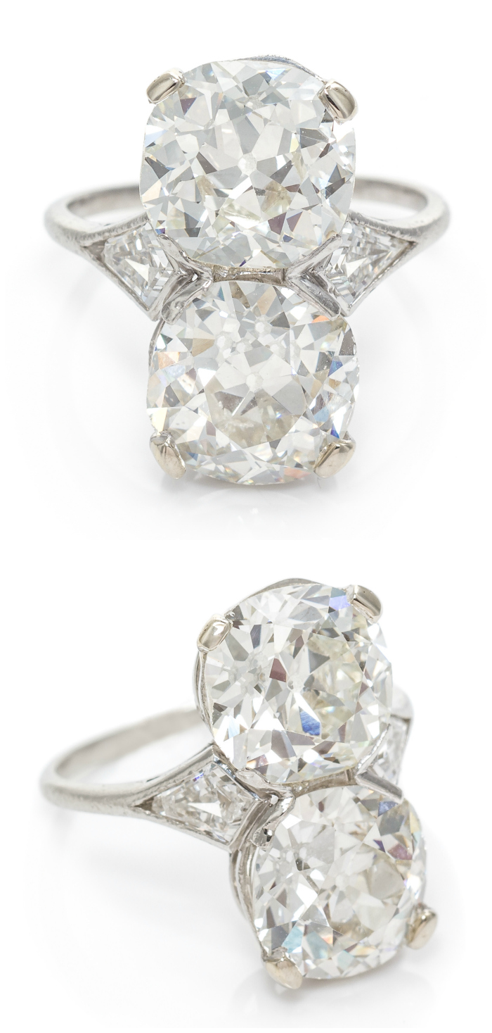 An Art Deco ring with a 3.52 carat diamond and a 3.43 carat diamond!