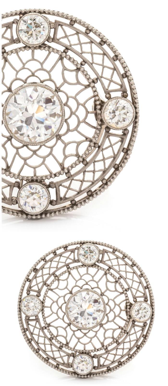 An Edwardian platinum brooch with diamonds.
