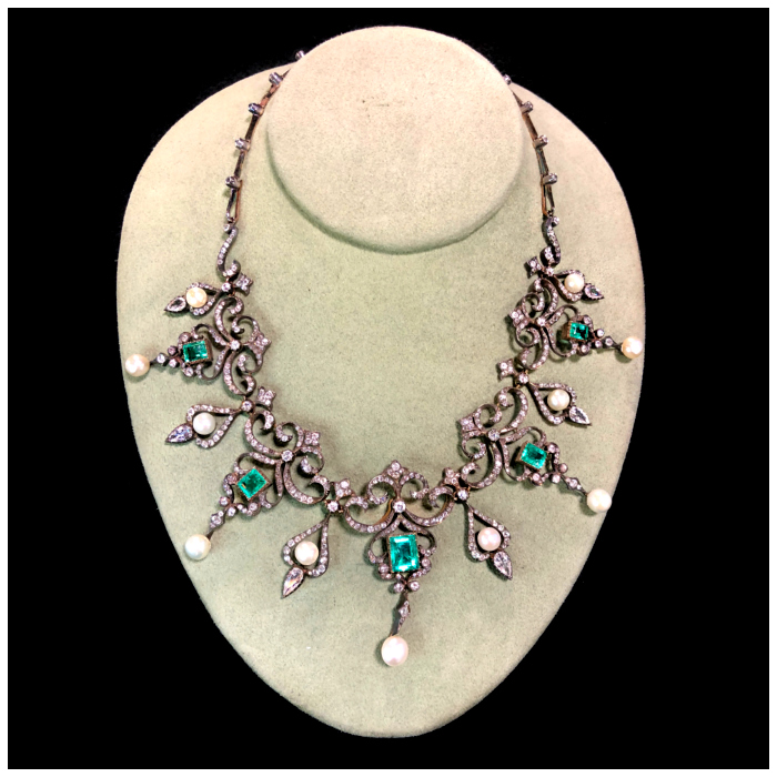An incredible antique necklace with diamonds, pearls, and emeralds. Victorian era, from DK Bressler.