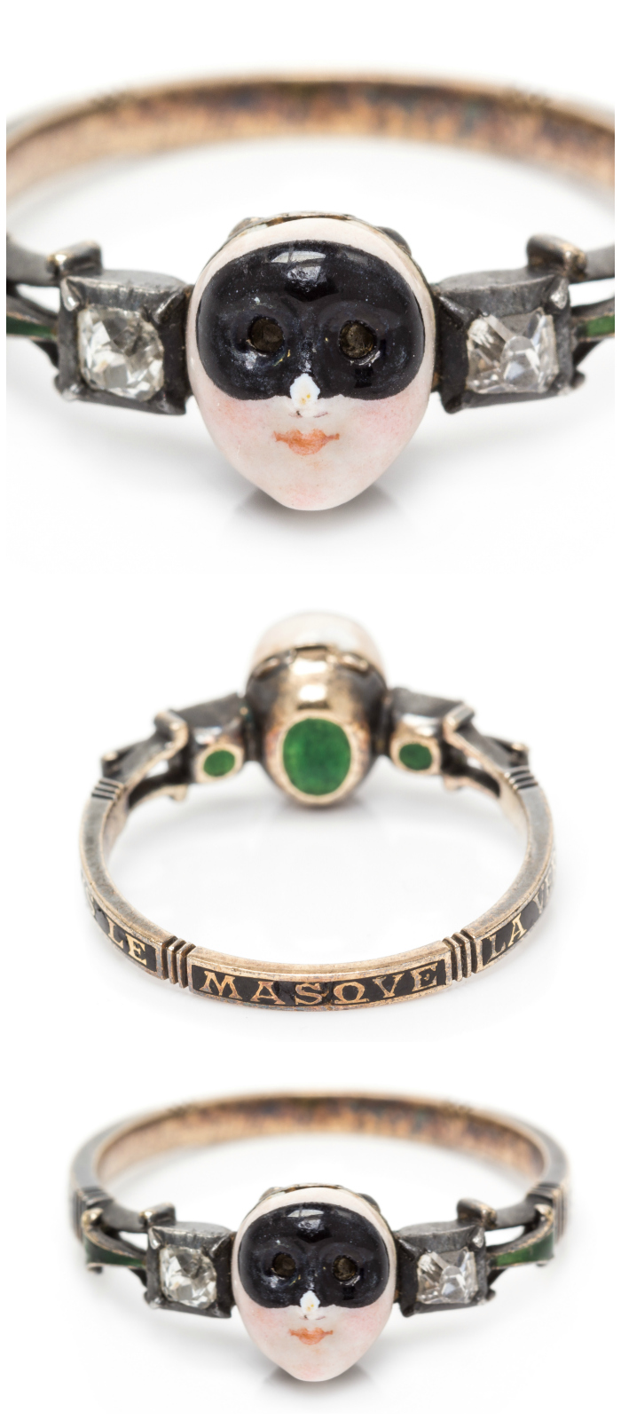An rare 18th century Carnival locket ring. This treasure features a secret compartment and the message 'SOVS LE MASQVE LA VERITE' which means 'Under the mask, the truth.'