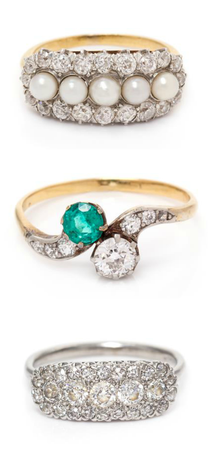 Beautiful antique Edwardian era rings from Leslie Hindman's upcoming auction! Diamonds, pearls, and emeralds.
