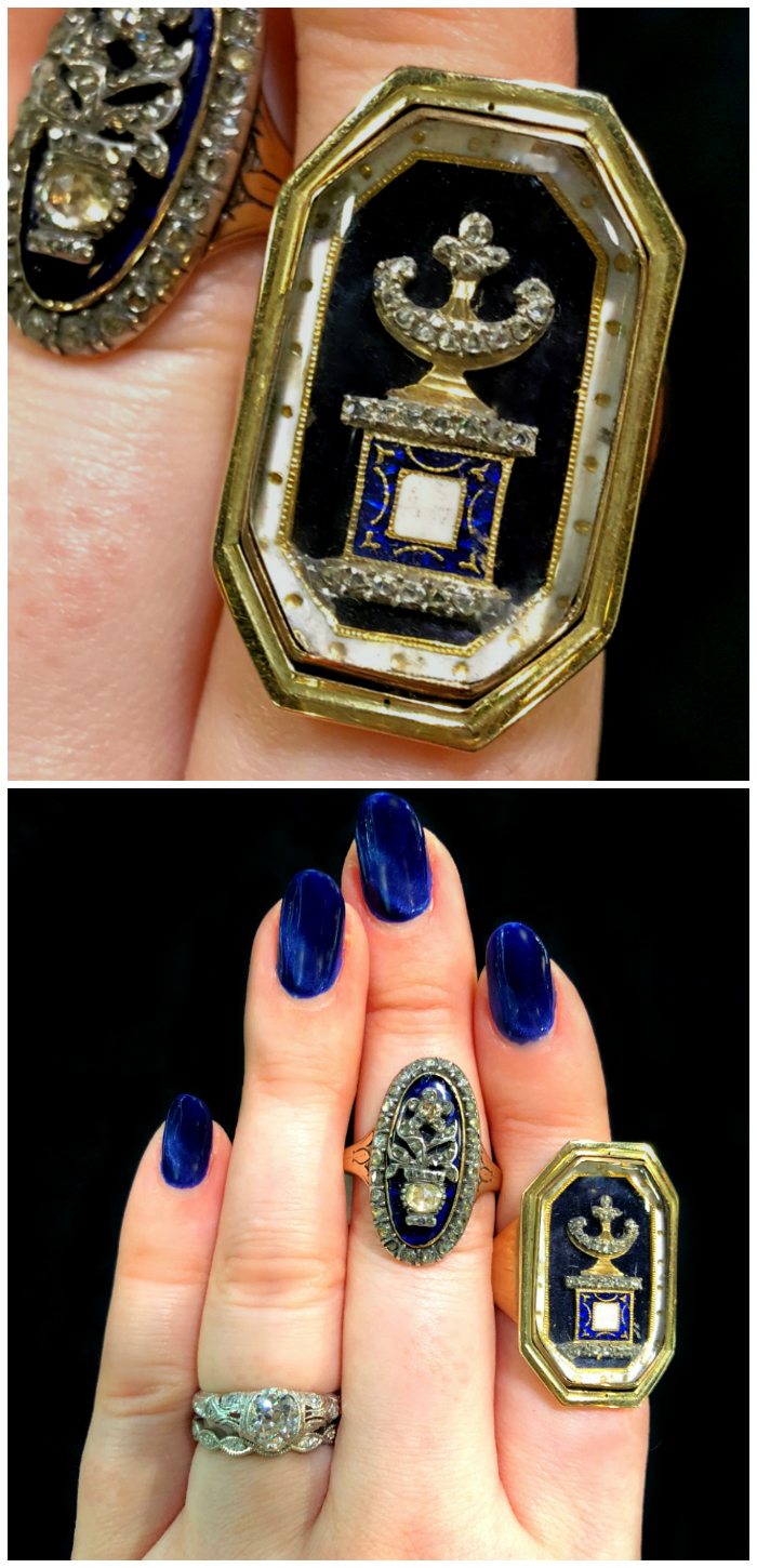 Incredible antique mourning rings from DK Bressler. Georgian era. That urn is incredible!