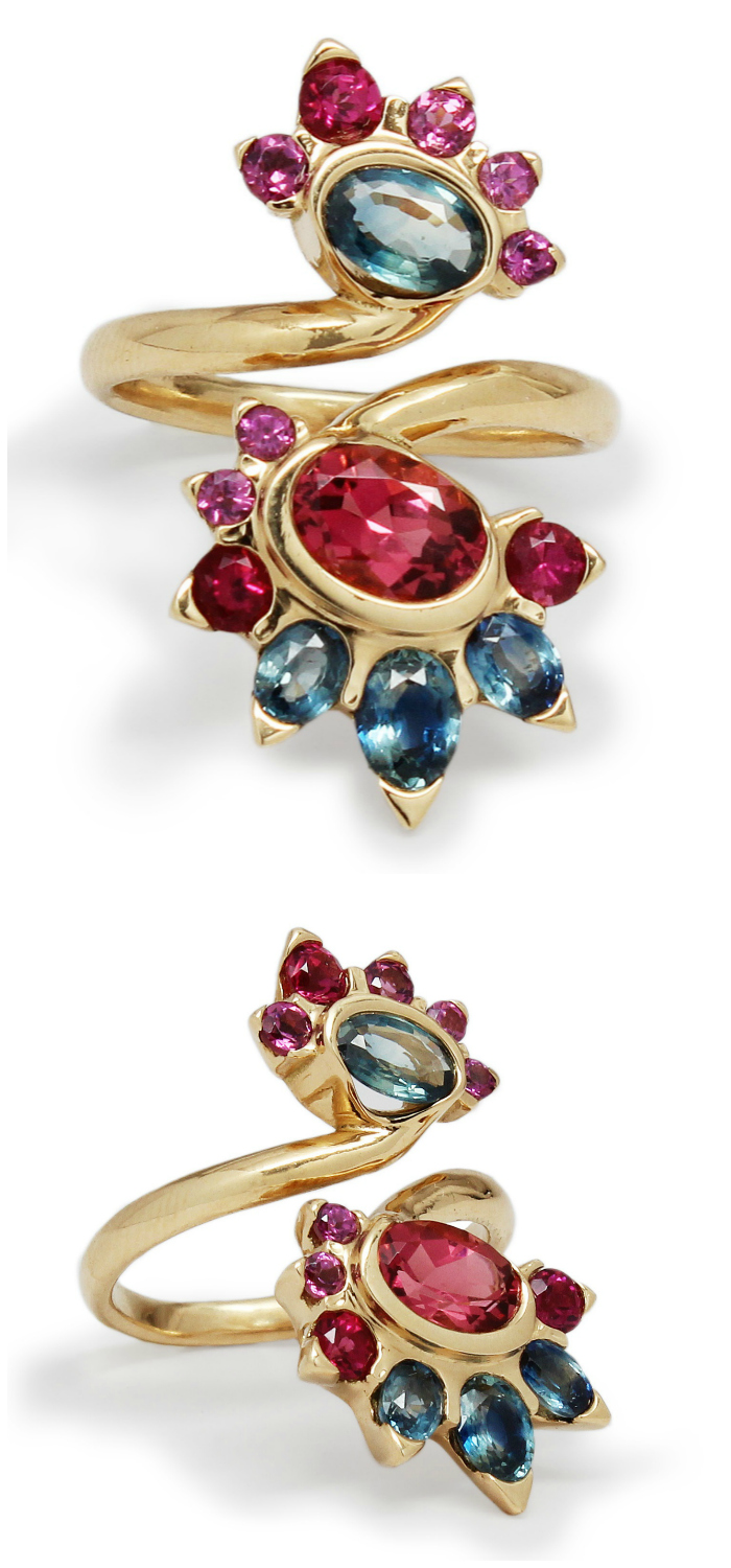 This one of a kind bypass ring by Baker & Black features rubellite tourmaline, blue sapphires and rhodolite garnet in 18 karat yellow gold, made in NYC.