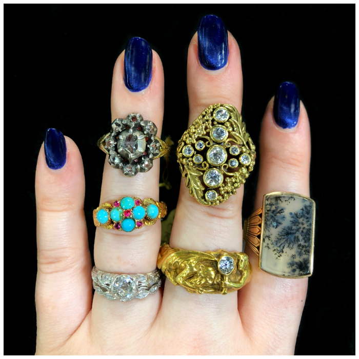 Vintage and antique rings from DK Bressler! Rubies, diamonds, agate, and turquoise.