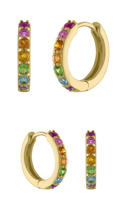 A fabulous pair of rainbow gemstone huggie hoop earrings by Kelly Bello Designs.
