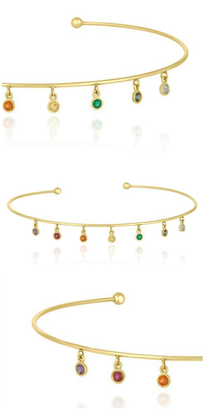 A fabulous rainbow gemstone choker by Kelly Bello Designs.
