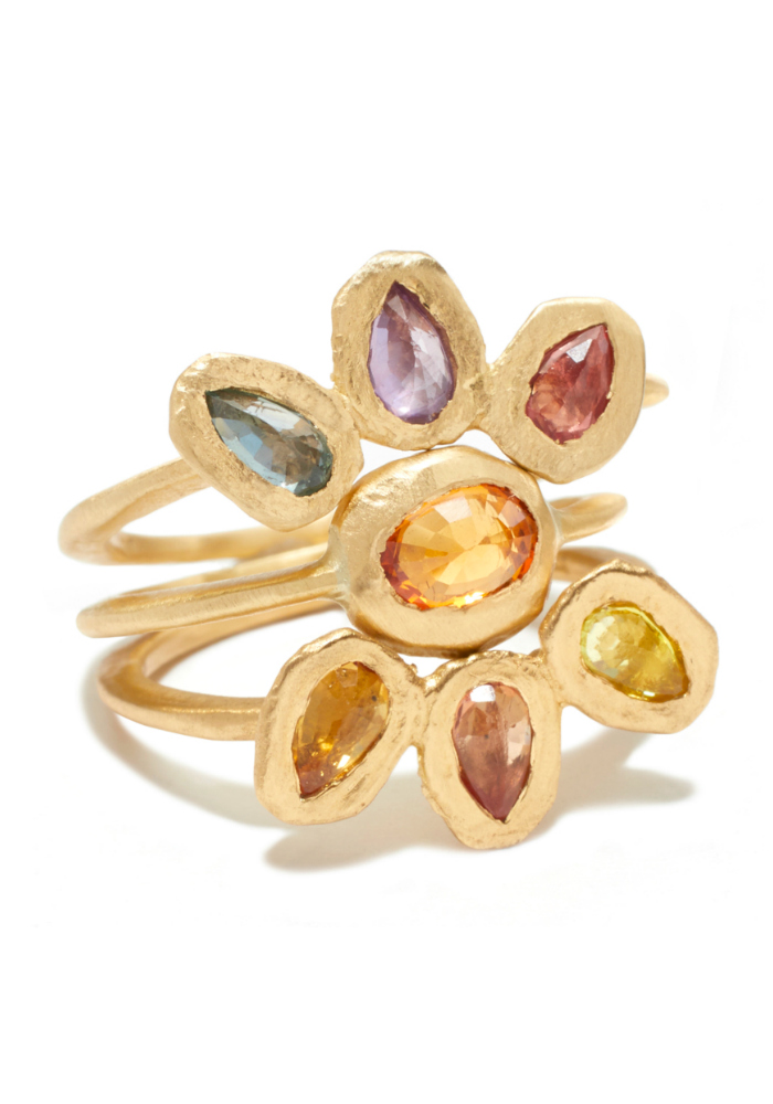 A rainbow gemstone ring by Page Sargisson.