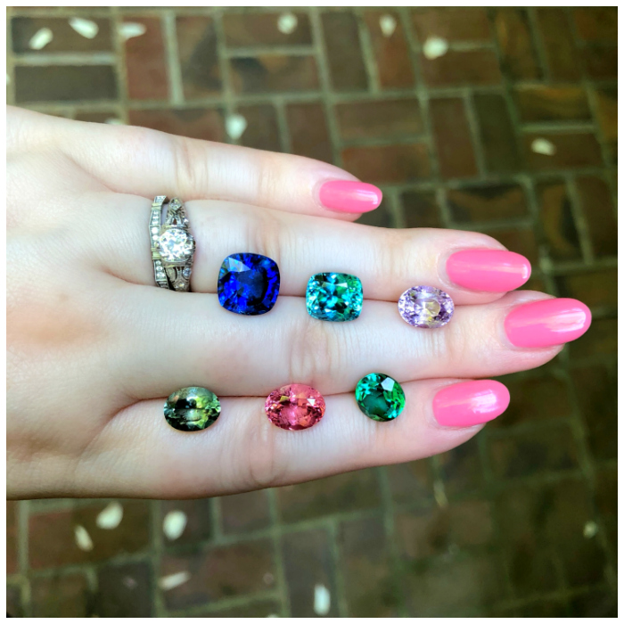 A selection of colored gems from Kimberly Collins Gems! I couldn't decide which gemstone I loved the most. Sapphires, tourmalines, and spinel .