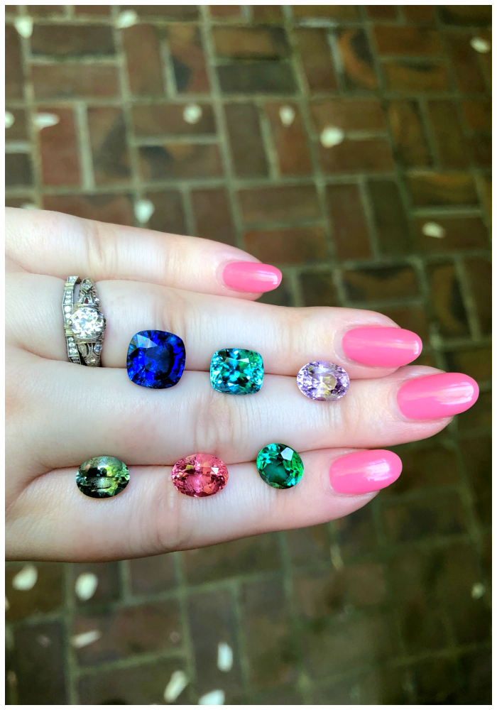 A selection of colored gems from Kimberly Collins Gems! I couldn't decide which gemstone I loved the most. Sapphires, tourmalines, and spinel.