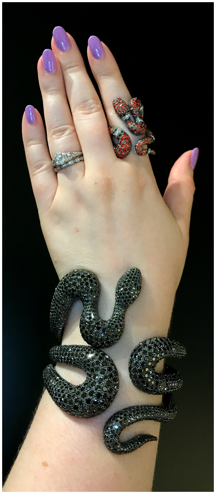 Beautiful and badass snake jewels by Mattioli!! The bracelet is black diamonds and the snake is diamonds and colored gems.
