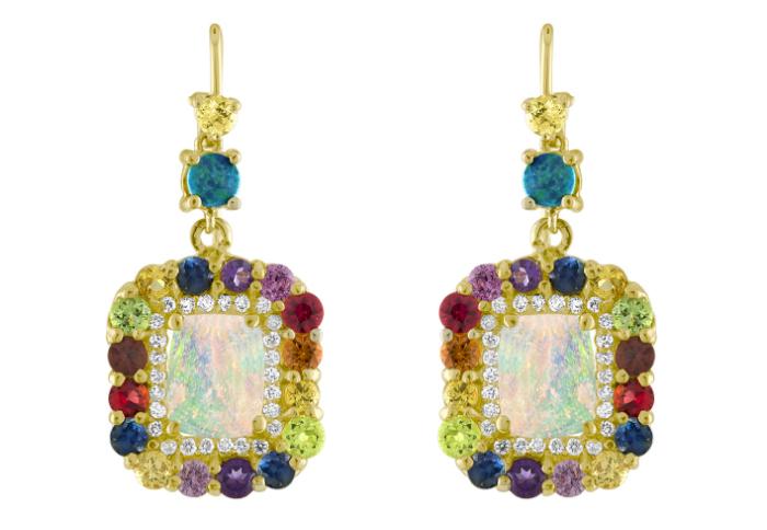 Glorious opal and rainbow gemstone earrings by Eden Presley.