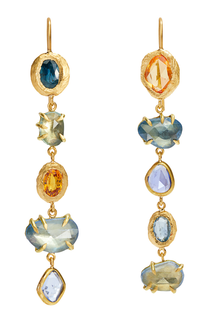 Long and lovely colored gemstone earrings byPage Sargisson.