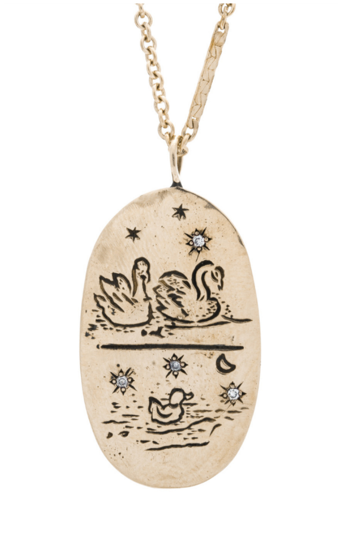 Mama jewelry she'll want to wear - Sofia Zakia's Cygnus necklace.The sweetest little swan family in yellow gold with diamonds.