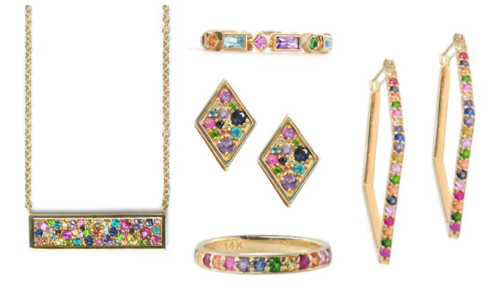 Rainbow jewelry by Canadian brand Anzie.
