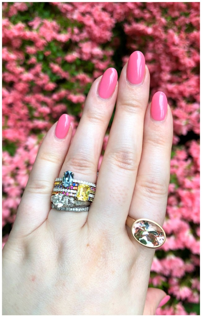 Rings from Kimberly Collins Gems! Colorful sapphire stack on my ring finger, a big juicy morganite on my pointer finger.