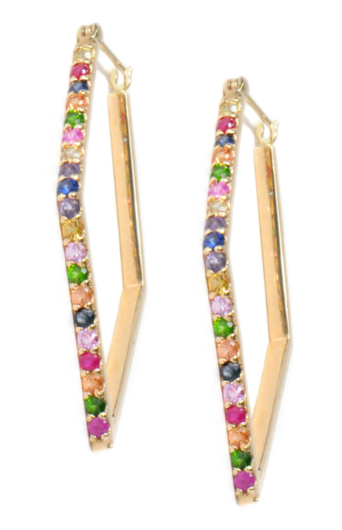 Super cool rainbow gemstone hoop earrings by Anzie!