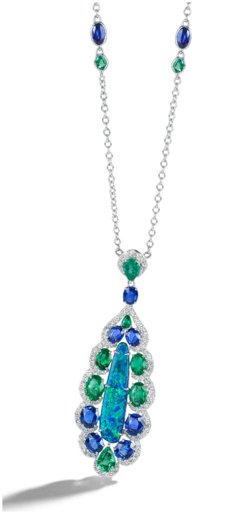 The Mother Earth necklace from Sutra; a luscious 5 carat opal doublet surrounded by 4 carats of emeralds, 6 carats of sapphires, and 1.4 carats of diamonds.
